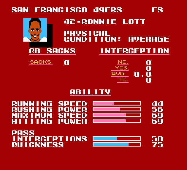 Image result for ronnie lott tecmo super bowl